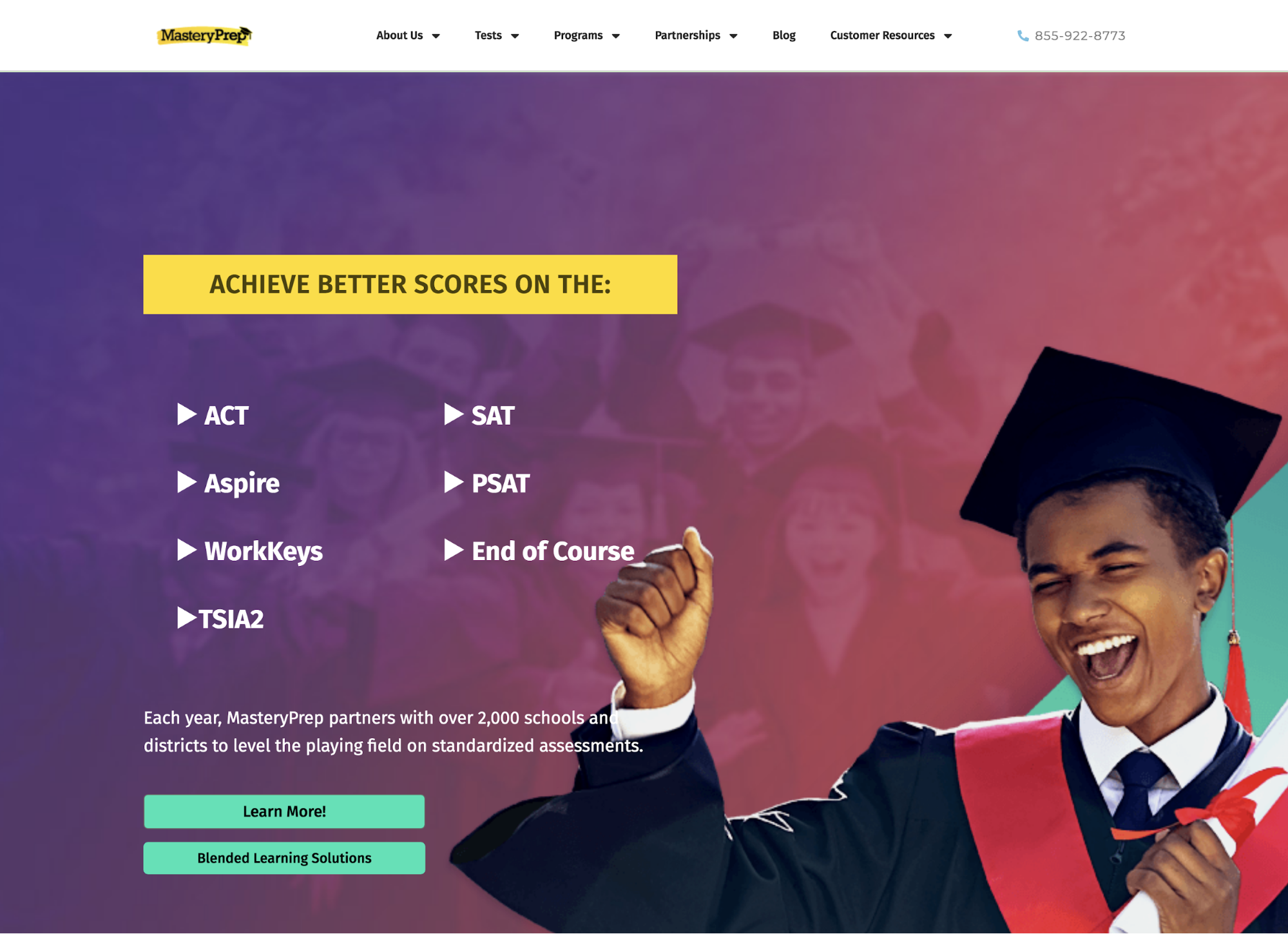 MasteryPrep offers practice tests, online teaching, and in-person prep classes