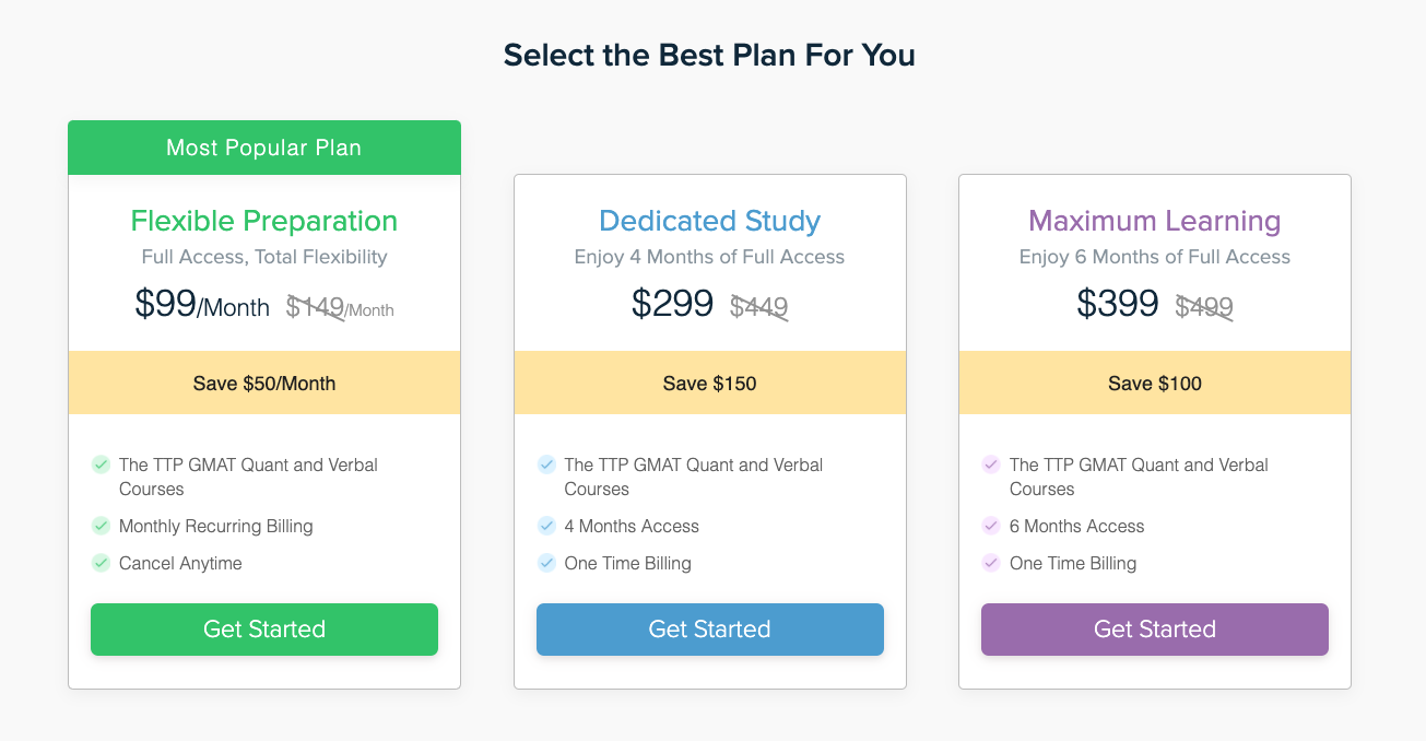 Target Test Prep plans and pricing